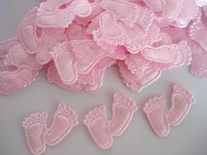144pc Baby Girl Shower Fabric Satin Applique - Foot Print (A6-Pink-Foot)
