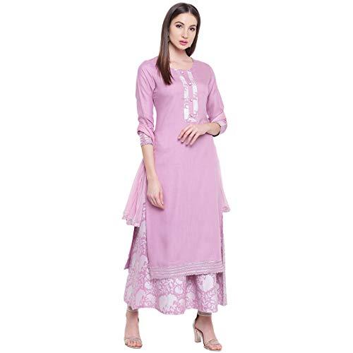 Khushal K Women's Rayon Solid Kurta With Palazzo and Dupatta Set (Light-Purple)