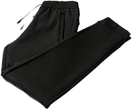 Mens Plus Size Elastic Waist Fleece Thicken Relaxed Casual Pant
