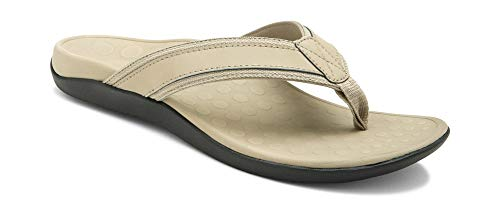 Vionic Men's Tide Toe-Post Sandal - Flip Flop with Concealed Orthotic Arch Support Taupe 11 M US