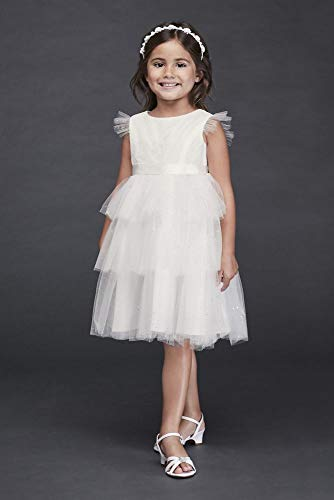 Tiered Sparkle Tulle and Lace Flower Girl/Communion Dress Style CR1395, Soft White, 4 ()