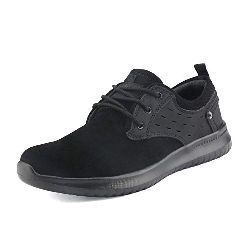 Suede Lace Up Walking Shoes - Bruno Marc Men's Walking Shoes Suede Fashion Sneakers Walk-Lite-01 Black Size 9.5 M US