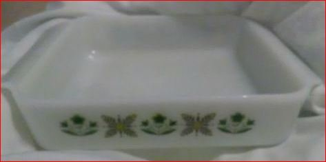 Vintage Fire King 435 Meadow Green Baking Dish 8 Inch Square