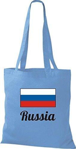 ShirtInStyle Bolso de mano Bolsa de algodón Yute de país Rusia Rusia - fucsia, 38 cm x 42 cm azul claro