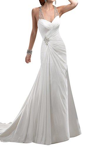 Chiffon Brautkleider Neckholder Mermaid Hochzeitskleider Ivydressing Damen Sexy Weiß wCqHBfIB