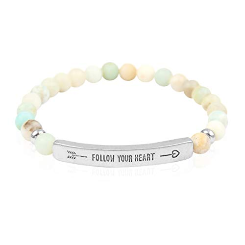Inspirational Bar Natural Stone Stretch Prayer Bracelet - Christian Religious Message Adjustable Cuff Bangle Amazing Grace/Blessed/Faith/Love/Hope/Bible (Follow Your Heart - Amazonite/Silver) ()