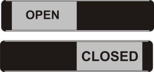 Seco Open/Closed Sliding Sign, 255mm x 52mm - Aluminum/PVC