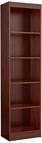 Cherry Corner Shelf - South Shore Narrow 5-Shelf Storage Bookcase, Royal Cherry