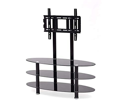 Three Oval Shelves - Hоdеdаh Impоrt Deluxe Premium Collection Mount & Three Oval Tempered Glass Shelves Tv Stand Black Decor Comfy Living Furniture