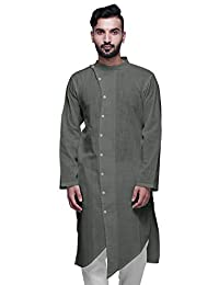AtasitwoLong Button Down Kurta for Boys Solid Festive Clothing Ethnic Mens Wear