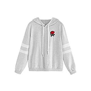 DIDK Women's Embroidered Rose Patch Stripe Sleeve Hoodie Sweatshirt Grey XS