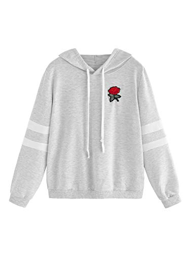 Embroidered Sweatshirt Stretch - DIDK Women's Embroidered Rose Patch Stripe Sleeve Hoodie Sweatshirt Grey L