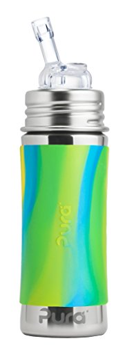 Pura Kiki 11 Oz / 325 Ml Stainless Steel Bottle With Silicone Straw & Sleeve, Aqua Swirl (plastic Free, Nontoxic Certified, Bpa Free)