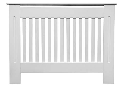 Jack Stonehouse Painted Radiator Cover Cabinet With Vertical Modern Style  Slats In White MDF (Small)