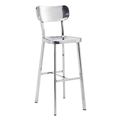 - Zuo Modern 100303 Winter Bar Chair, Stainless Steel, Seamlessly Flow From Top to bottom, Classic Profile of Oval Back Connected, Slim Perfectly Molded Seat, Dimensions 15.6