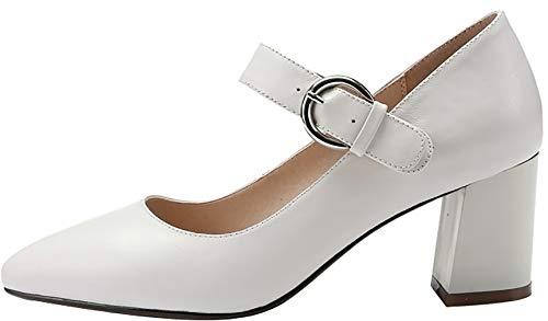 Schlüpfen Qaics Damen Pumps 6CM Calaier Blockabsatz Schuhe P5Ia88