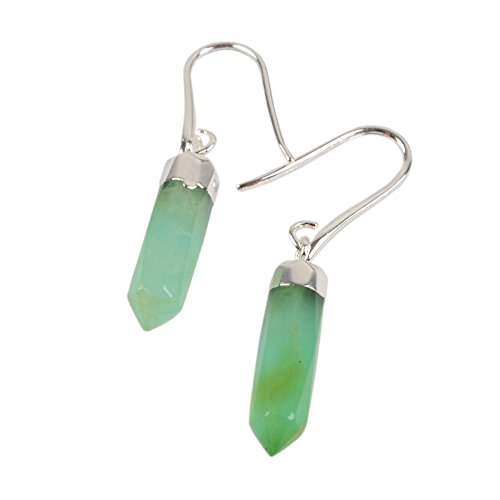 JAB 1 Pair Silver Plated Australia Jade Faceted Point Drop Dangle Earrings with Fishhook Backing S1353