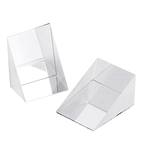 Younar 2 PCS Optical Glass Triangular Prisms Right Angle Isosceles Prisms,0.39in