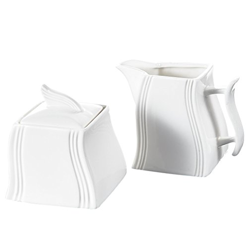 vory Porcelain China Ceramic Sugar and Creamer Serving Set Coffee and Tea with Milk Jug/Pot with Lid, 7 x 5 x 3 inches, White ()