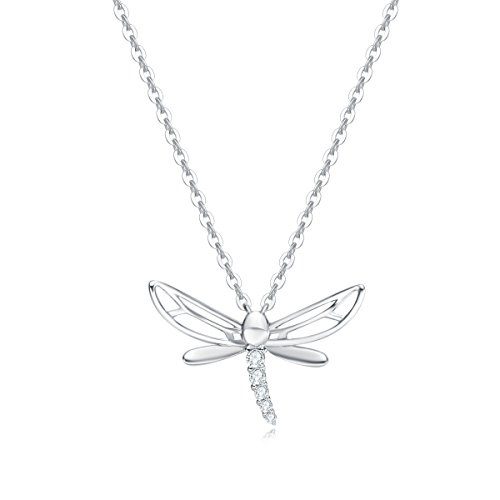 Carleen 14k Solid White Gold CZ Cubic Zirconia Dragonfly Necklace Dainty Delicate Fine Jewelry Statement Pendant for Women Girls, 16