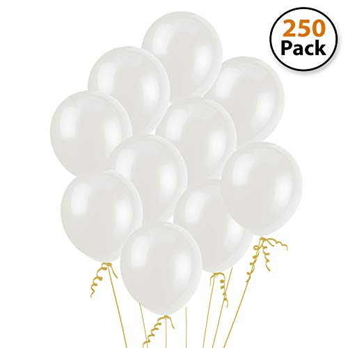"White Party Balloons (250 Pcs) – Lets Party with a Pack of 12"" Latex Balloons – Perfect for Kids Birthday Parties, Events, or Activities – Fun & Easy to Inflate Ball Balloons"
