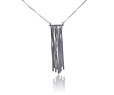 Sterling Silver Festoon Necklace with Flat Chain Graduated Tassel 18 Inch from uGems