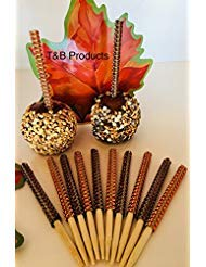 12 PC HALLOWEEN (6)Orange and (6) Black Bling Candy Apple Sticks -