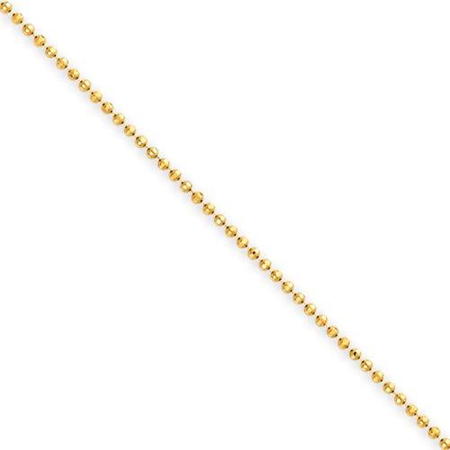 1.2mm, 14 Karat Yellow Gold, Diamond-Cut Ball Chain Anklet – 10 inch