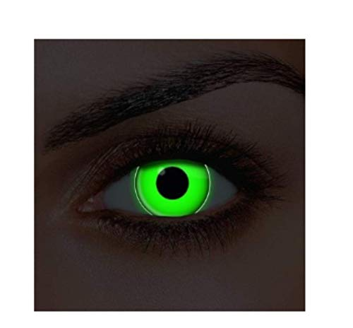 Luckygoo SAFE Adults Mens Ladies Green Contact Lenses UV Halloween Carnival Cosmetic Coloured Fancy Dress Eye Wear Accessory with Contact Lens Case exclusive to Dress You UP