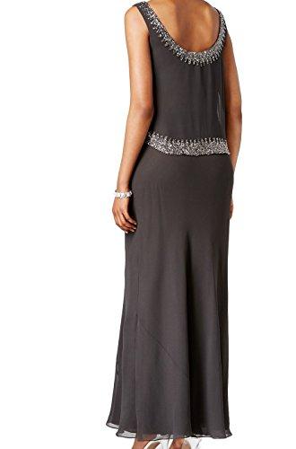Gown Women's J Kara Neck Crepe Gray Scoop Beaded YqHxwRq