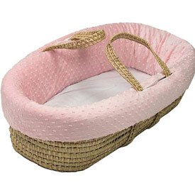 BabyDoll Heavenly Soft Moses Basket, Pink by Baby Doll