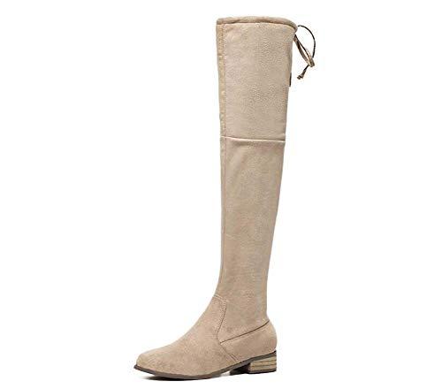 Beige Stivali Coscia 34 Donne Di Alta Bowknot Dimensioni Cavaliere Boot 40 Stivali Eu Tacco Toe 3 Vestito Chunkly Mamrar Cerniera Centimetri qWZRtUwn