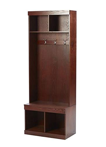 Amazon.com: Hall Trees with Bench and Coat Racks - Walnut Wood with Four Hooks and Cubbies - Organizing Your Space with Sophistication: Home & Kitchen