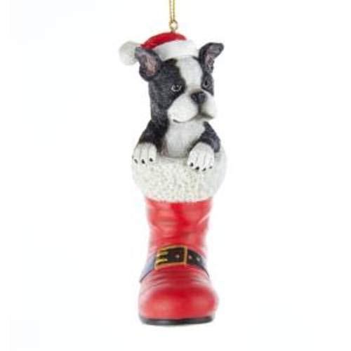Kurt Adler D3696BT Boston Terrier in Santa Boot Ornament, 4.92-inches Tall (Boston Accent Boots)
