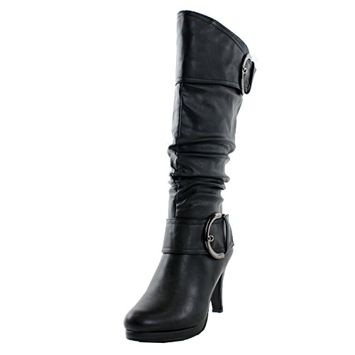 (TOP Moda Womens Page-22 Knee High Round Toe Buckle Slouched Low Heel Boots, Black, 8.5)