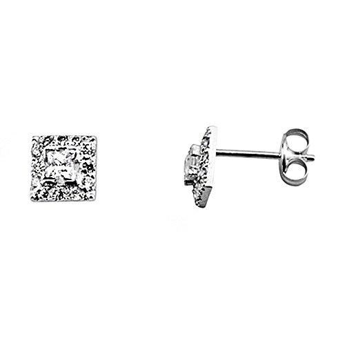 Boucled'oreille blanc 18k boîte de zircone 2.5mm d'or. [AA5993]