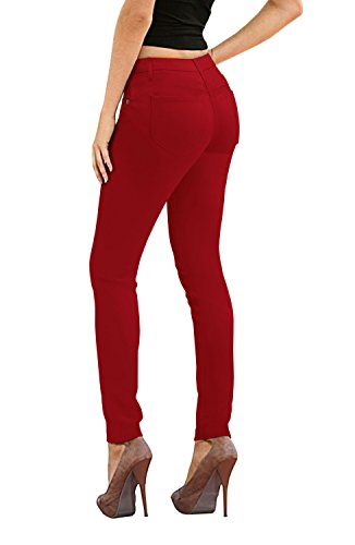 Women's Skinny Fit Stretch Twill Pant-P19416SK-RED-7