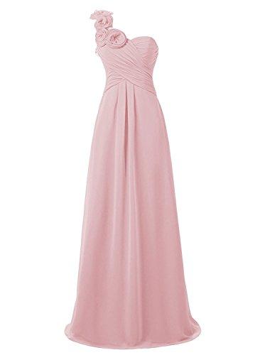 Blush Empire Bridesmaid Shoulder Evening Women's One Anlin Waist with Dress Long Flowers qTxwZPYtS