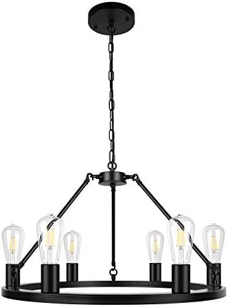 6-Light Black Farmhouse Modern Chandelier Metal Industrial Pendant Lighting