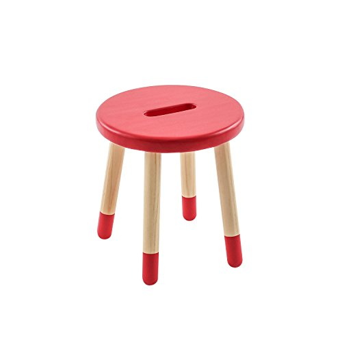 Max & Lily Natural Wood Kid and Toddler Stool, Red