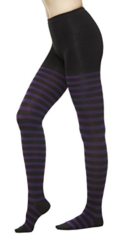 Women Winter Cotton Check Print Knit Sweater Footed Tights (One Size : XS to M, Stripe Purple)