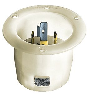 30A 125V L5-30P White TWIST-LOCKÂ Flanged Inlet