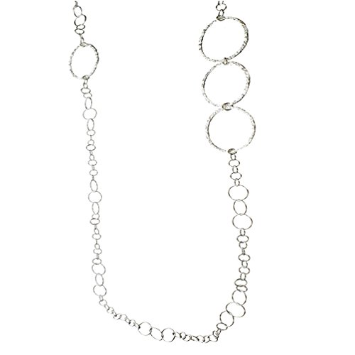 (Sterling Silver Flat Hammered Circle Large Links 42 Inch Long Necklace Italy)