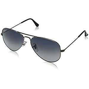Ray-Ban 3025 Aviator Large Metal Non-Mirrored Polarized Sunglasses, Gunmetal/Blue/Grey Gradient (004/78), 58mm