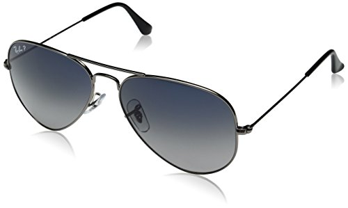 Ray-Ban 3025 Aviator Large Metal Non-Mirrored Polarized Sunglasses, Gunmetal/Blue/Grey Gradient (004/78), - Aviator Ray Ban Blue