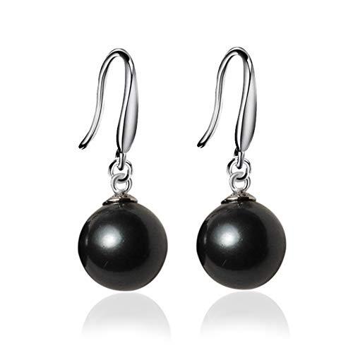 JOYID 10mm Ocean Pearl Dangle Earrings Natural Shell Beads Drop Earrings Fashion Jewelry for Women-Black