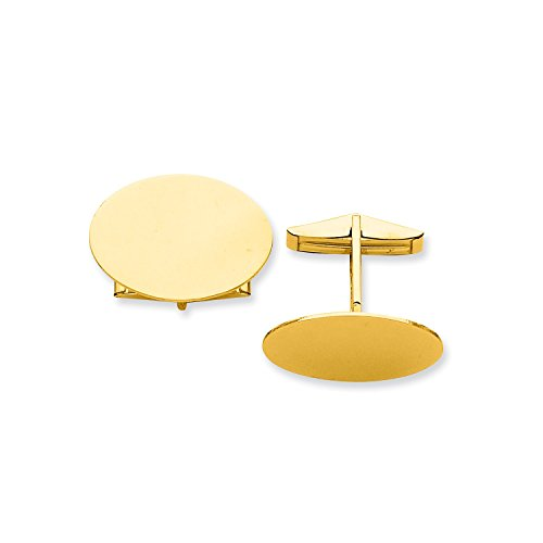 Roy Rose Jewelry 14K Yellow Gold Oval Cuff (Rose Gold Yellow Cufflinks)