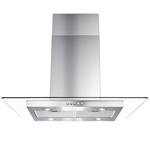 AKDY 36″ Euro Style Stainless Steel Push Button Island Mount Range Hood w/Push Button Control
