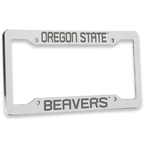 (Logo Products Oregon State Beavers Chrome Plastic License Plate Frame)