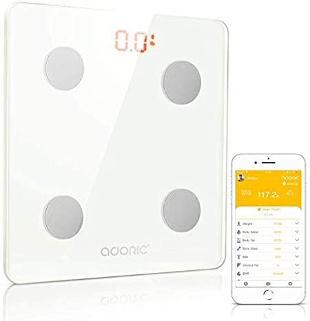 Adoric Bluetooth Body Fat Scale Smart Digital Scale with Free APP for Android and iOS, Tempered Glass Surface, Auto On Off, Body Composition Monitor Measures Weight White